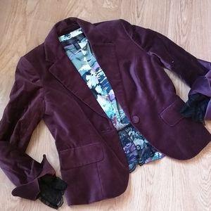 Apostrophe plum velvet and lace Blazer sz 8